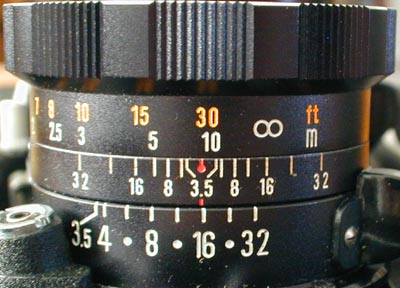 105mm DS viewing lens depth of field scales